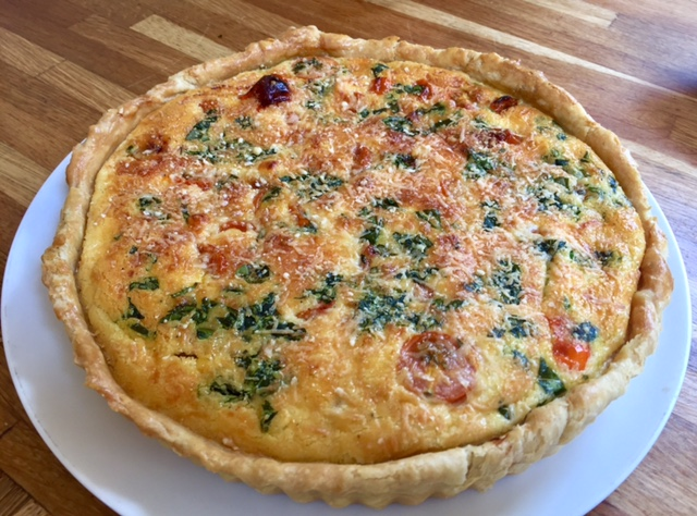 Tomato and Basil Quiche with Spelt Flour