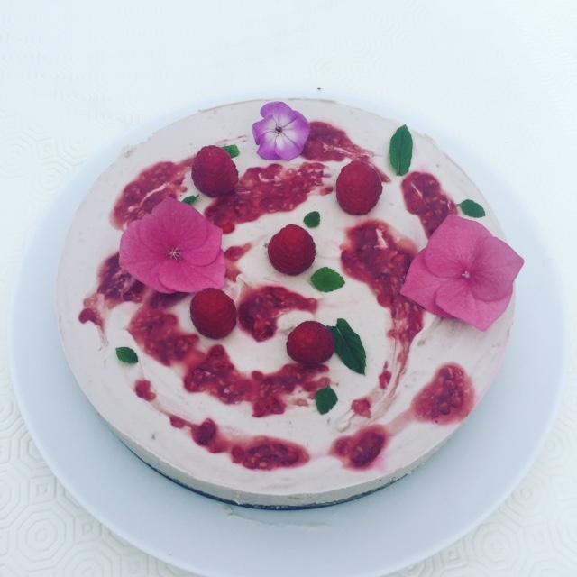 Raspberry Ripple Raw Tart