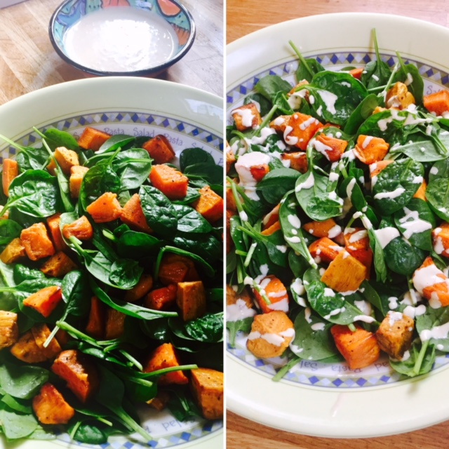 Sweet Potato and Spinach Salad with Tahini Dressing